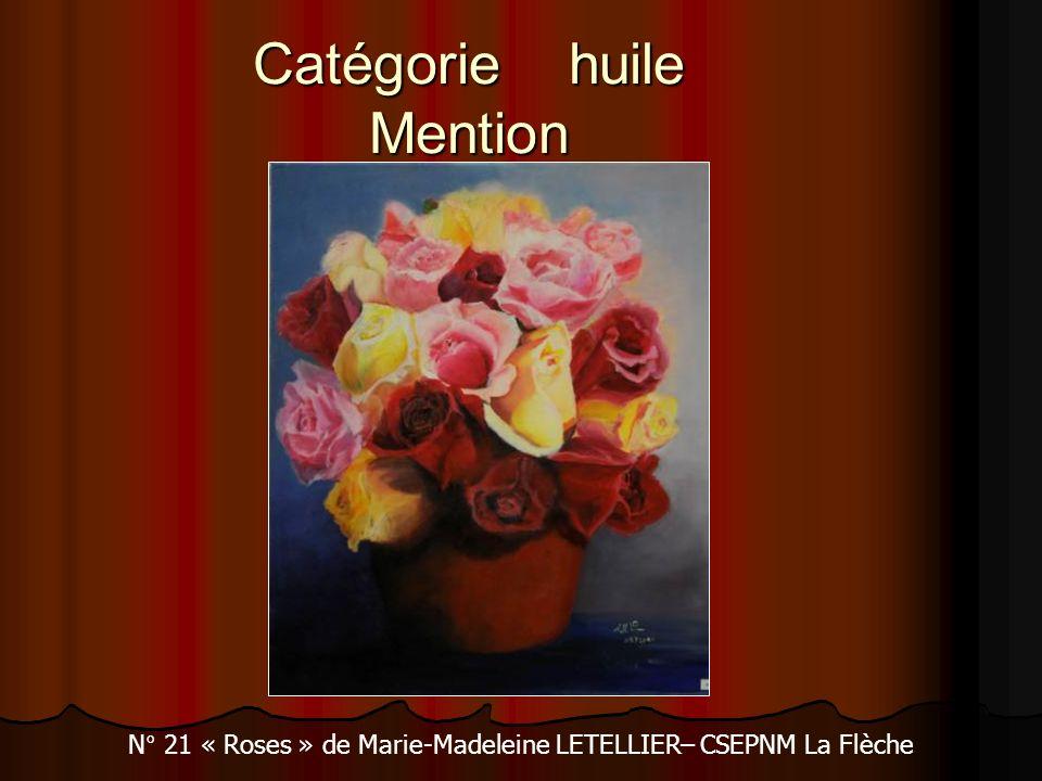 Catégorie huile Mention N° 21 « Roses » de Marie-Madeleine LETELLIER– CSEPNM La Flèche