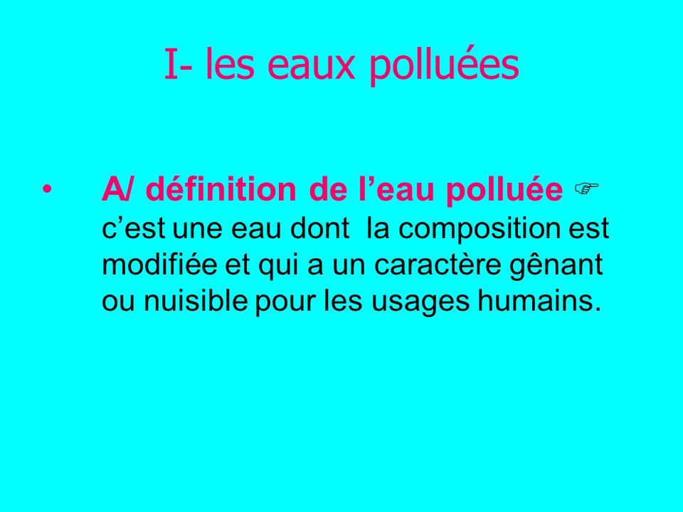 B/ QUELS SONT LES DIFFÉRENTS TYPES DE POLLUTION DE LEAU.