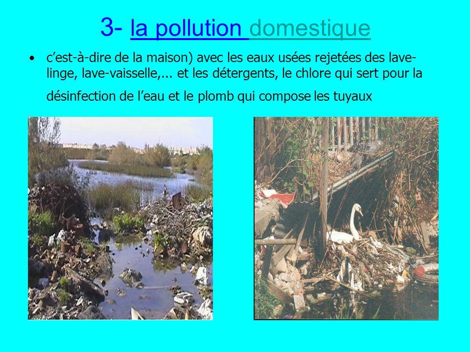 3- la pollution domestiquedomestique cest-à-dire de la maison) avec les eaux usées rejetées des lave- linge, lave-vaisselle,... et les détergents, le