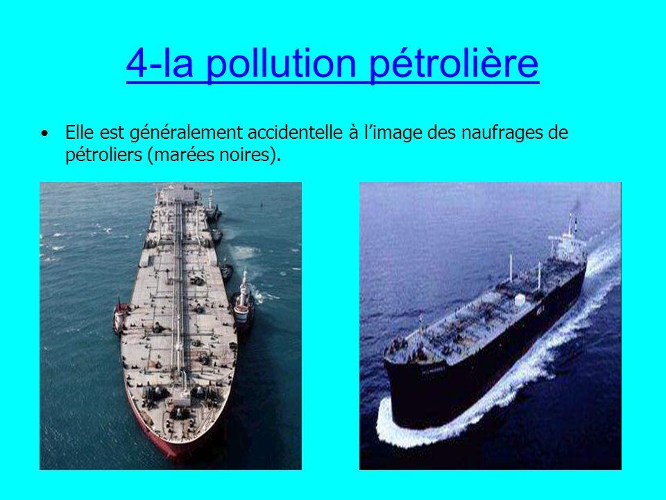4-la pollution pétrolière Elle est généralement accidentelle à limage des naufrages de pétroliers (marées noires).