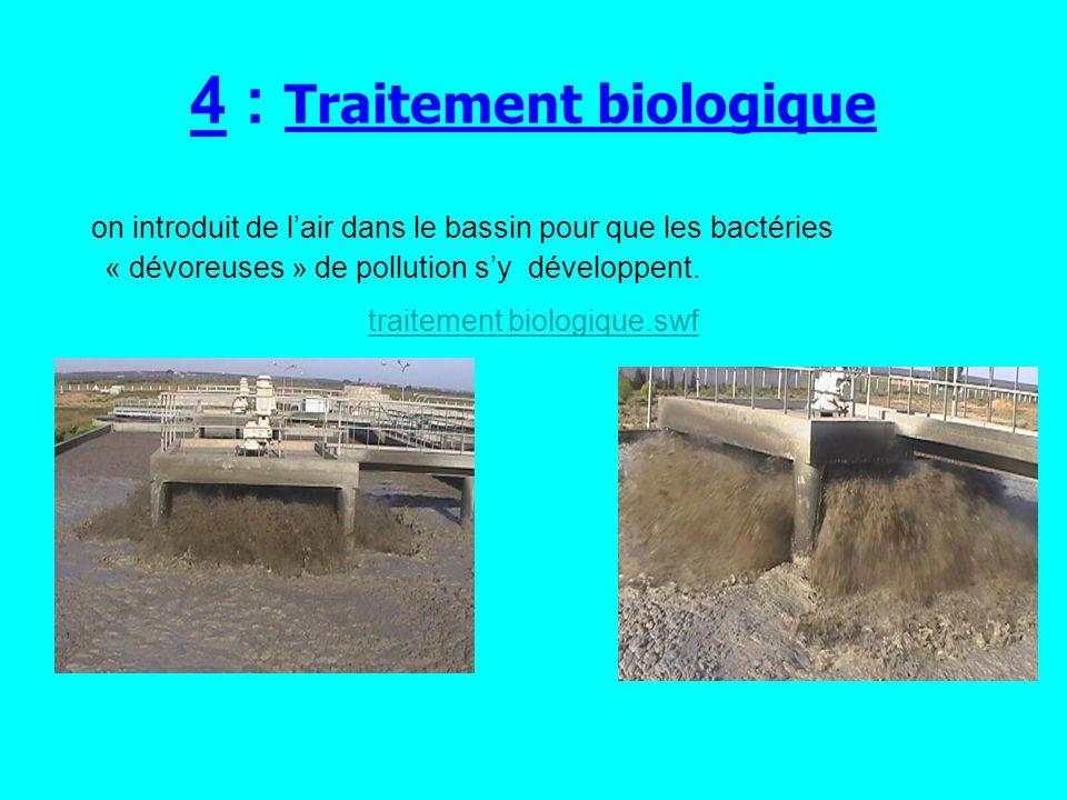 5 : Décantation secondaire ces bactéries sagglomèrent entre elles et forment de petits amas de boues qui vont progressivement se déposer au fond du bassin.