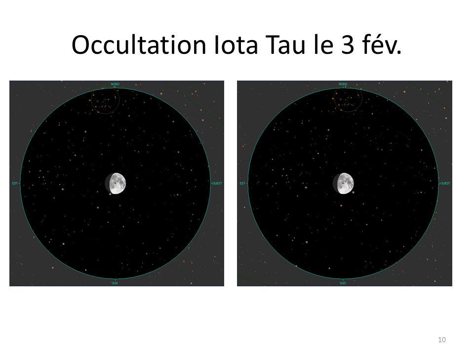 Occultation Iota Tau le 3 fév. 10