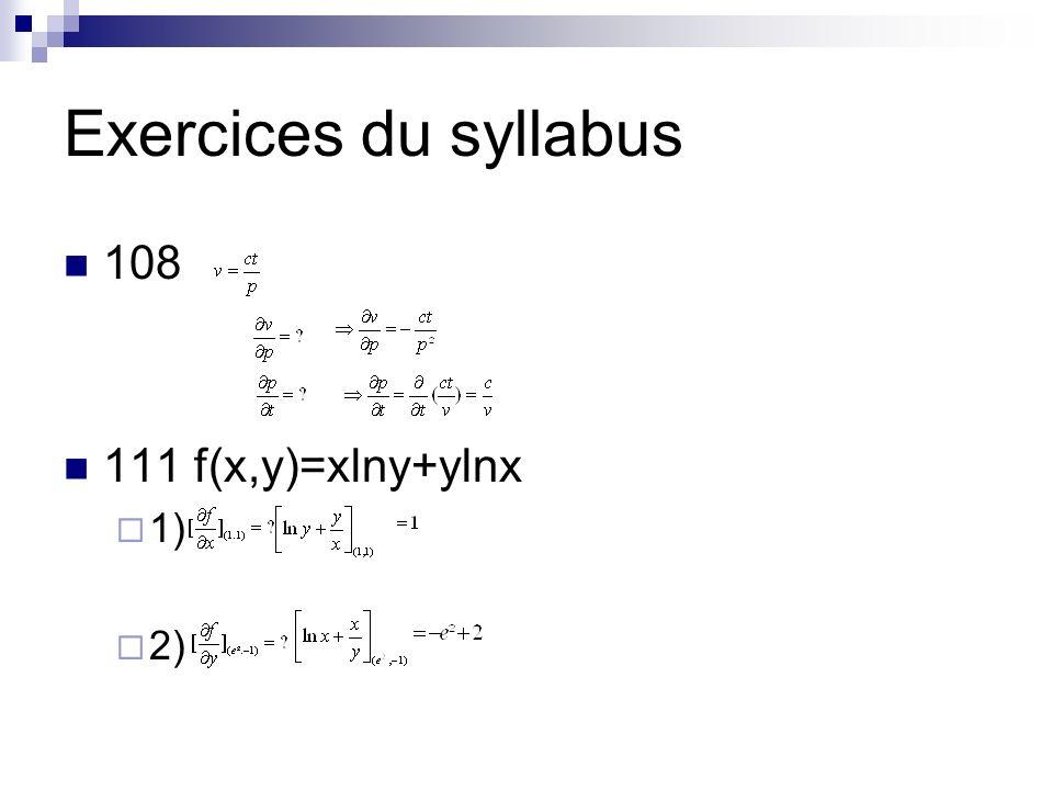 Exercices du syllabus 108 111 f(x,y)=xlny+ylnx 1) 2)