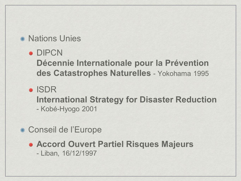 Nations Unies DIPCN Décennie Internationale pour la Prévention des Catastrophes Naturelles - Yokohama 1995 ISDR International Strategy for Disaster Re