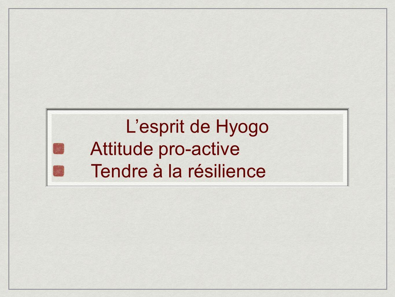 Lesprit de Hyogo Attitude pro-active Tendre à la résilience