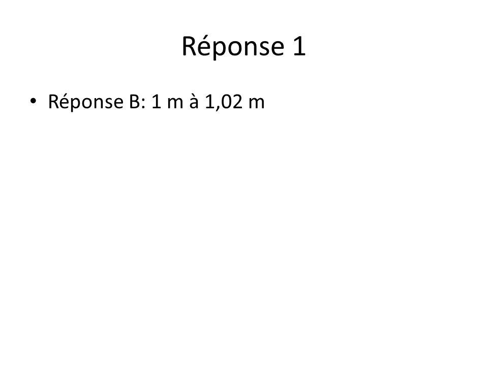 Réponse 1 Réponse B: 1 m à 1,02 m