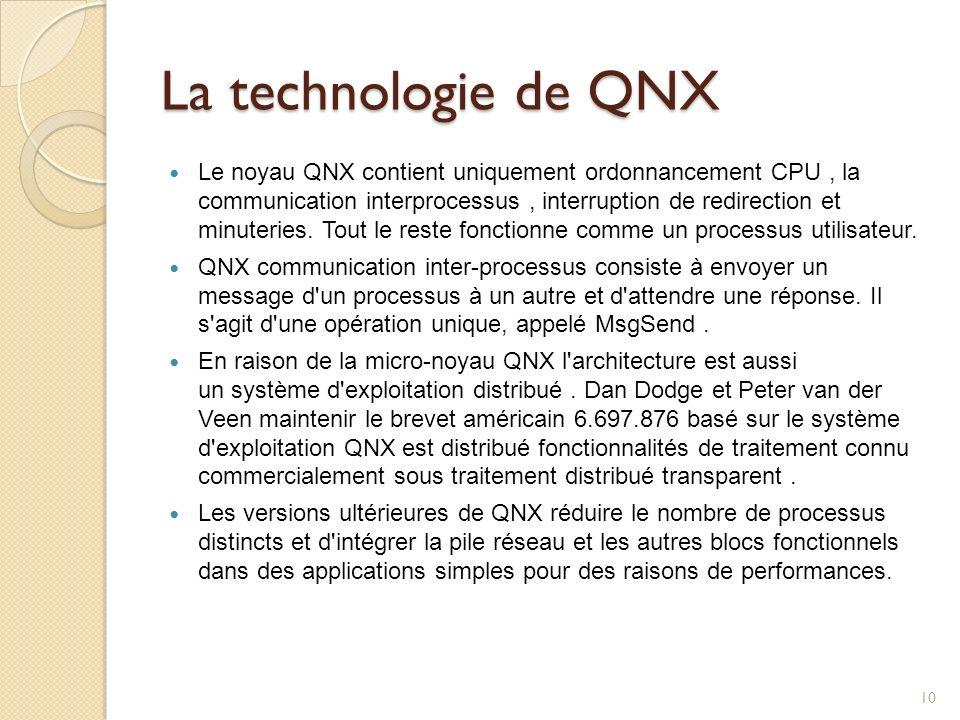 La technologie de QNX Le noyau QNX contient uniquement ordonnancement CPU, la communication interprocessus, interruption de redirection et minuteries.