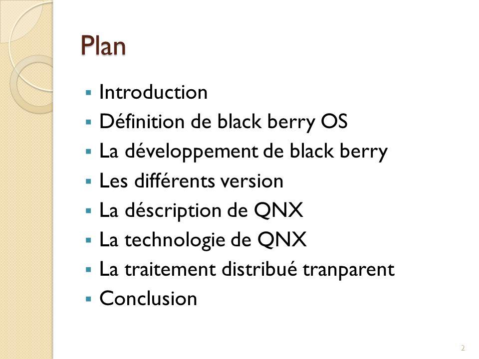 Plan Introduction Définition de black berry OS La développement de black berry Les différents version La déscription de QNX La technologie de QNX La t