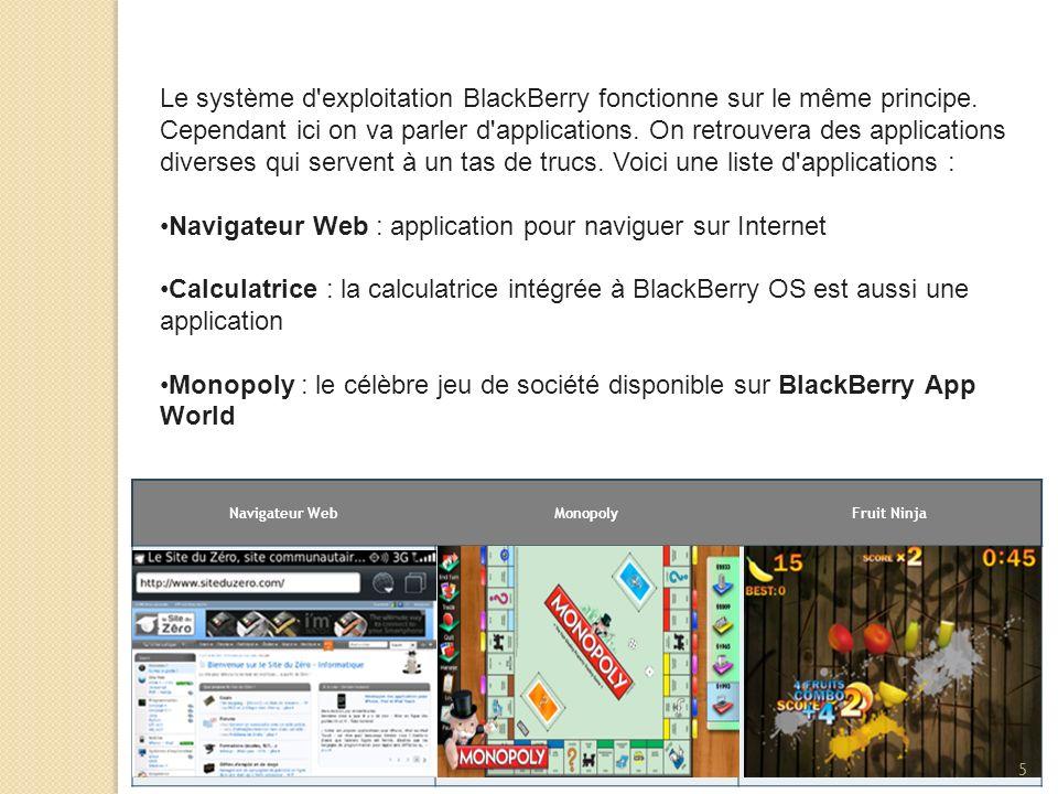 Le système d'exploitation BlackBerry fonctionne sur le même principe. Cependant ici on va parler d'applications. On retrouvera des applications divers