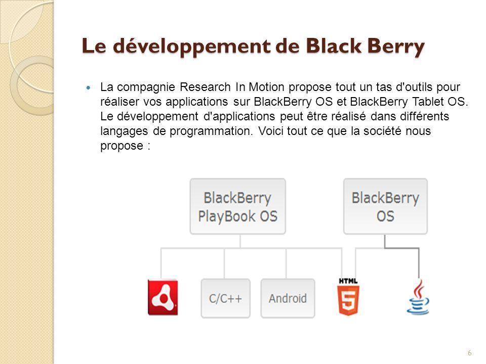 Le développement de Black Berry La compagnie Research In Motion propose tout un tas d'outils pour réaliser vos applications sur BlackBerry OS et Black
