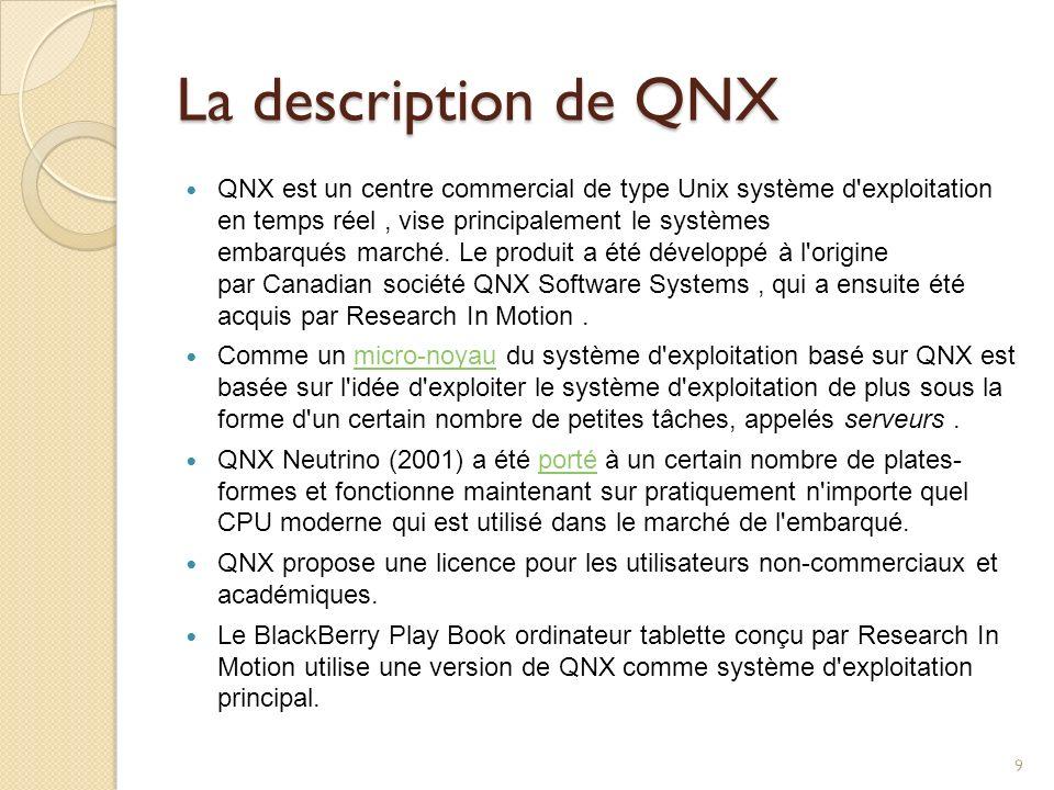 La description de QNX QNX est un centre commercial de type Unix système d'exploitation en temps réel, vise principalement le systèmes embarqués marché