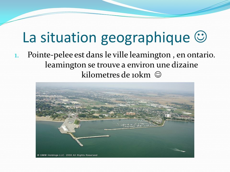 La situation geographique 1. Pointe-pelee est dans le ville leamington, en ontario. leamington se trouve a environ une dizaine kilometres de 10km