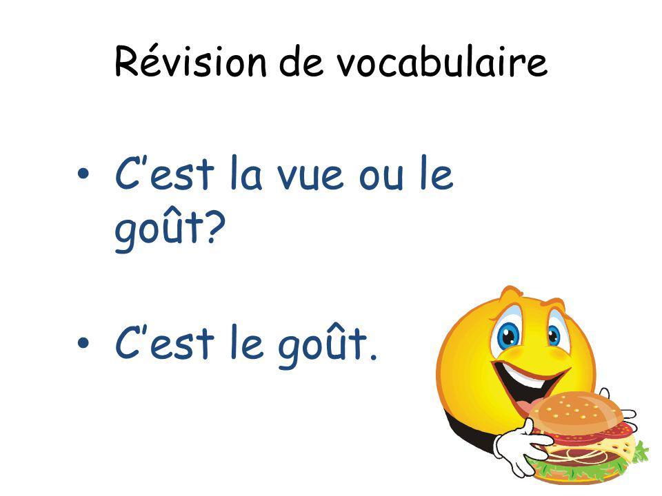 Révision de vocabulaire Cest la vue ou le goût? Cest le goût.