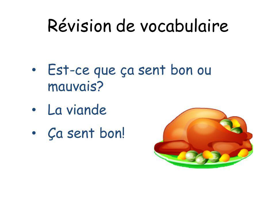 Révision de vocabulaire Est-ce que ça sent bon ou mauvais? La viande Ça sent bon!