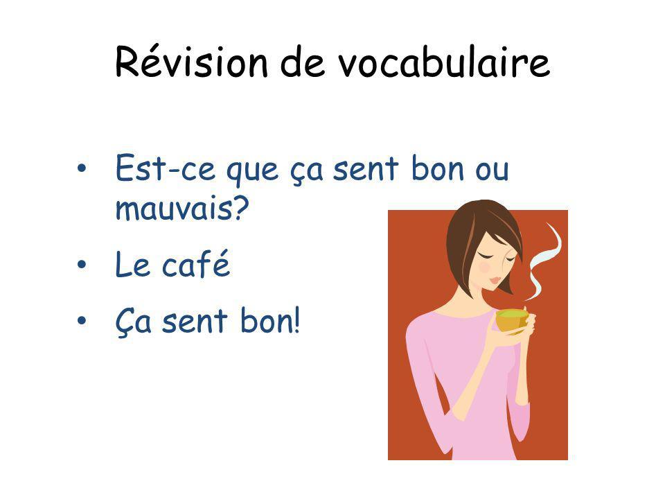 Révision de vocabulaire Est-ce que ça sent bon ou mauvais? Le café Ça sent bon!