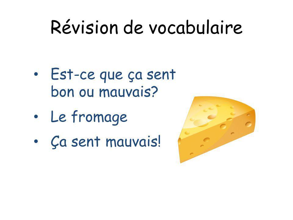 Révision de vocabulaire Est-ce que ça sent bon ou mauvais? Le fromage Ça sent mauvais!