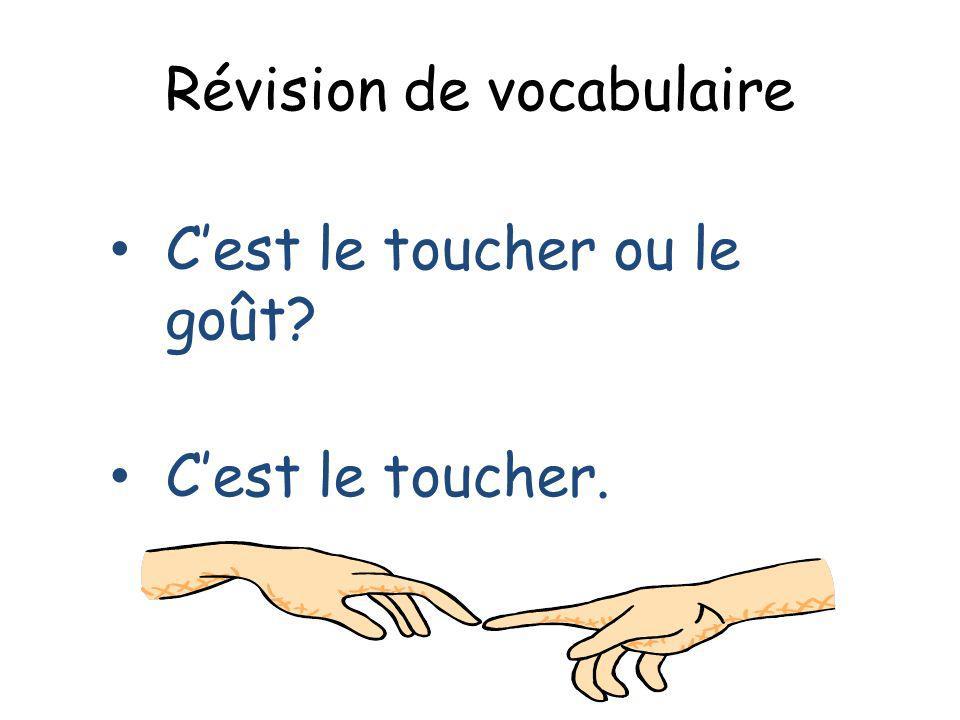 Révision de vocabulaire Cest le toucher ou le goût? Cest le toucher.
