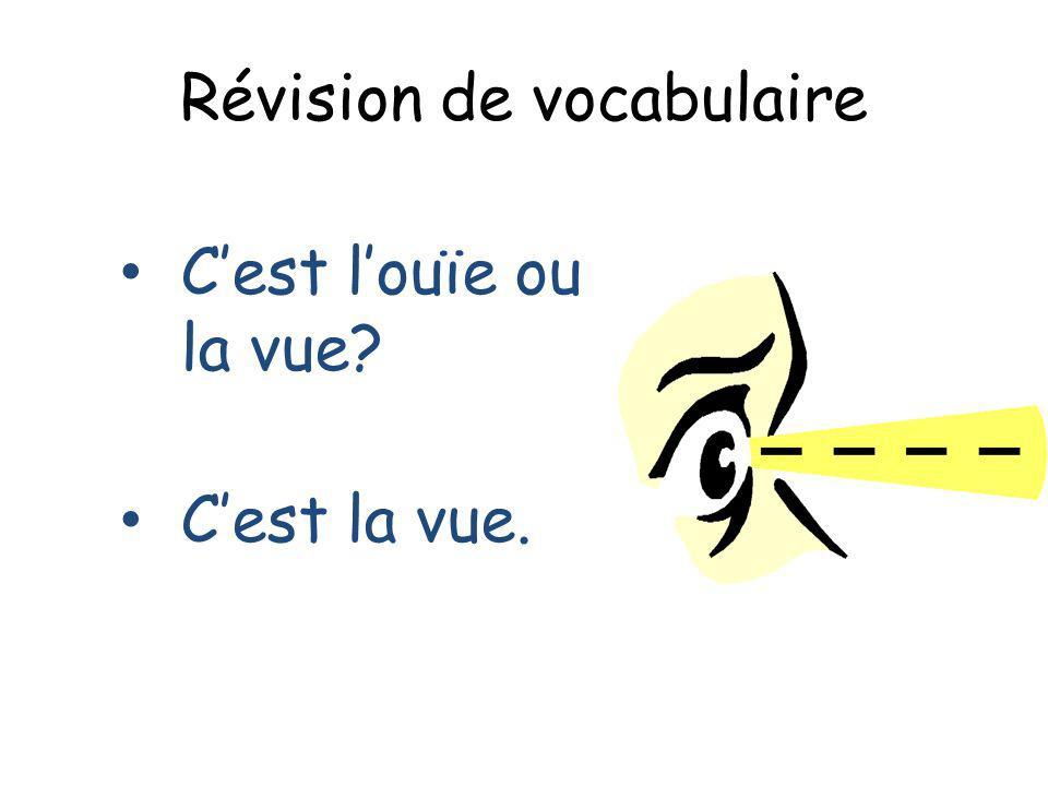 Révision de vocabulaire Cest louïe ou la vue? Cest la vue.