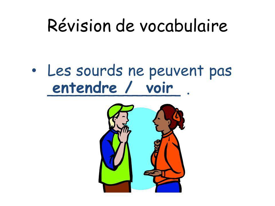 Révision de vocabulaire Les sourds ne peuvent pas ______________. entendre/ voir