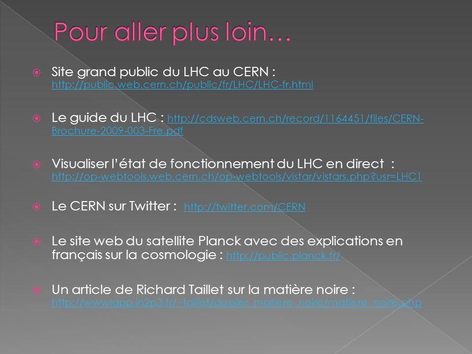 Site grand public du LHC au CERN : http://public.web.cern.ch/public/fr/LHC/LHC-fr.html http://public.web.cern.ch/public/fr/LHC/LHC-fr.html Le guide du