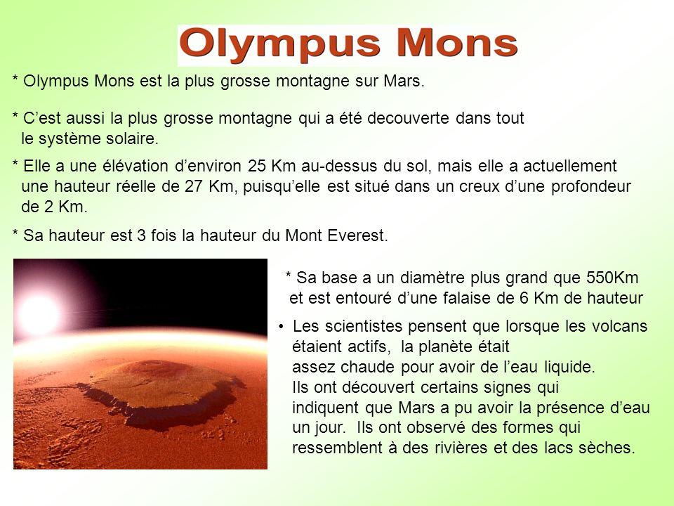 * Olympus Mons est la plus grosse montagne sur Mars.