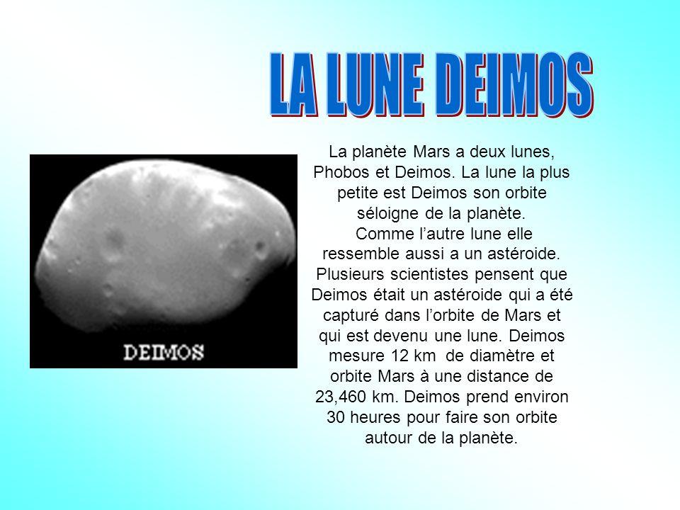 La planète Mars a deux lunes, Phobos et Deimos.