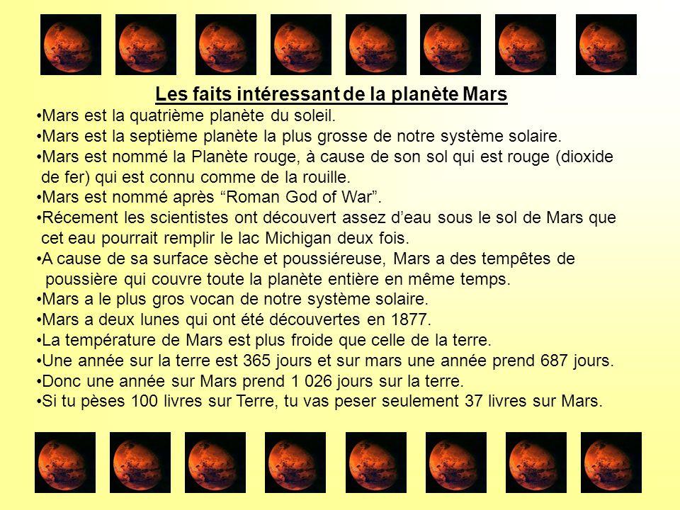 Les faits intéressant de la planète Mars Mars est la quatrième planète du soleil.
