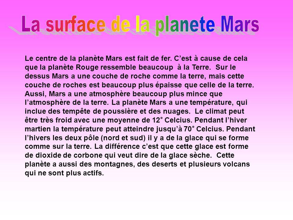 Le centre de la planète Mars est fait de fer.