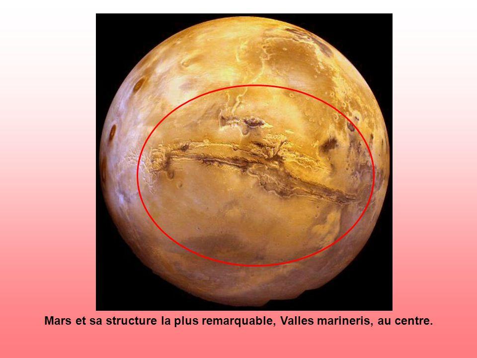 Mars et sa structure la plus remarquable, Valles marineris, au centre.
