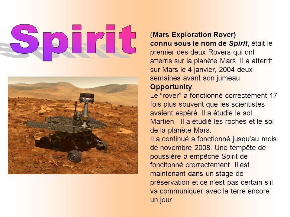 (Mars Exploration Rover) connu sous le nom de Spirit, était le premier des deux Rovers qui ont atterris sur la planète Mars.