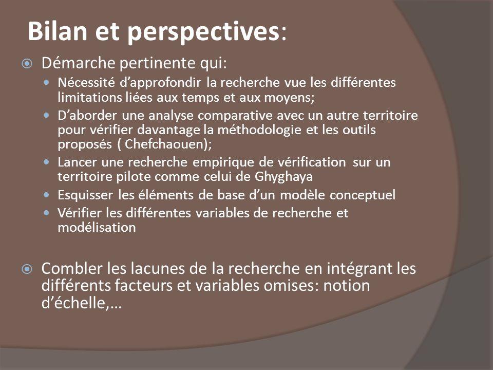 Bilan et perspectives: Démarche pertinente qui: Nécessité dapprofondir la recherche vue les différentes limitations liées aux temps et aux moyens; Dab