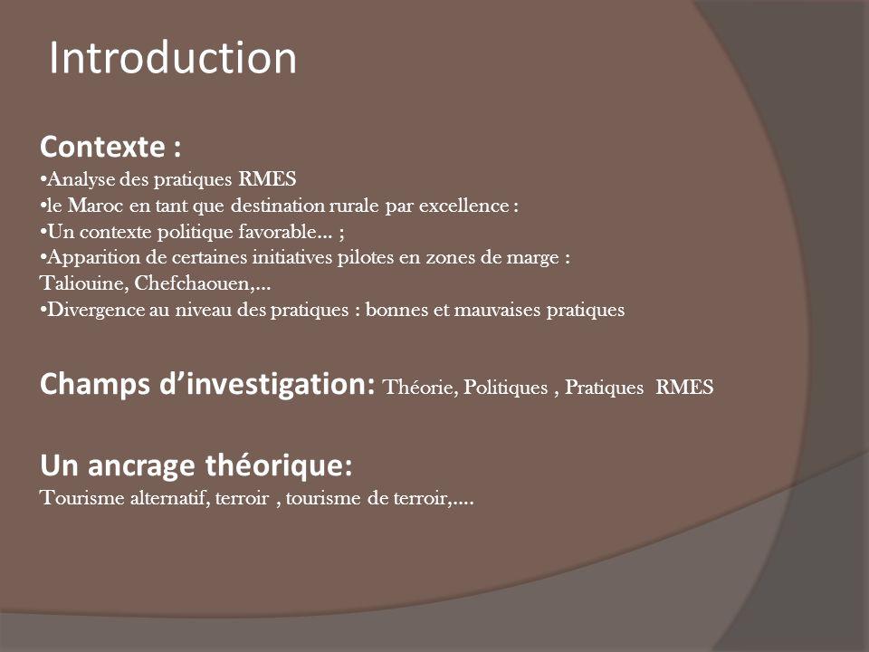 Introduction Contexte : Analyse des pratiques RMES le Maroc en tant que destination rurale par excellence : Un contexte politique favorable… ; Apparit