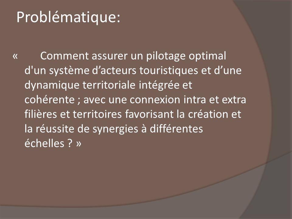 Problématique: « Comment assurer un pilotage optimal d'un système dacteurs touristiques et dune dynamique territoriale intégrée et cohérente ; avec un