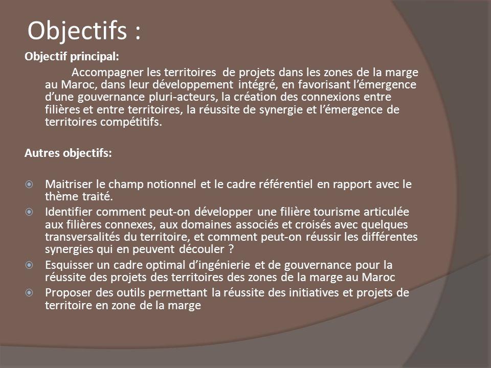 Objectifs : Objectif principal: Accompagner les territoires de projets dans les zones de la marge au Maroc, dans leur développement intégré, en favori