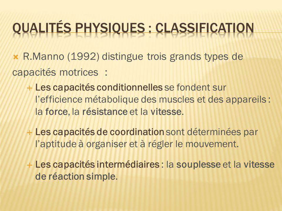 R.Manno (1992) distingue trois grands types de capacités motrices : Les capacités conditionnelles se fondent sur lefficience métabolique des muscles e