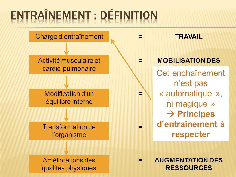 Charge dentraînementTRAVAIL= Activité musculaire et cardio-pulmonaire MOBILISATION DES RESSOURCES = Modification dun équilibre interne PERTURBATION= T