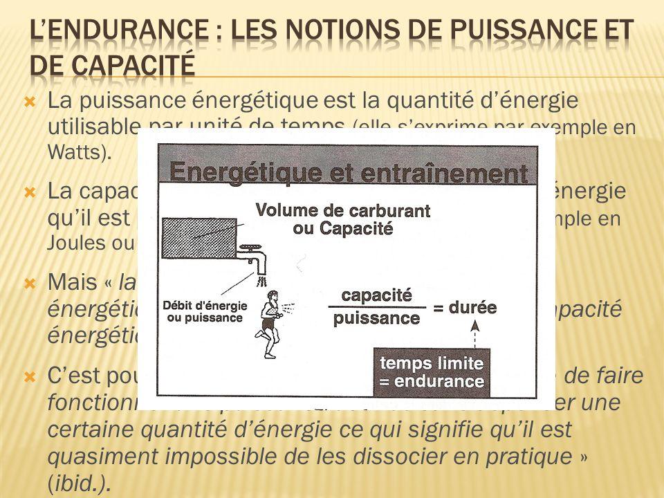 La puissance énergétique est la quantité dénergie utilisable par unité de temps (elle sexprime par exemple en Watts). La capacité énergétique est la q