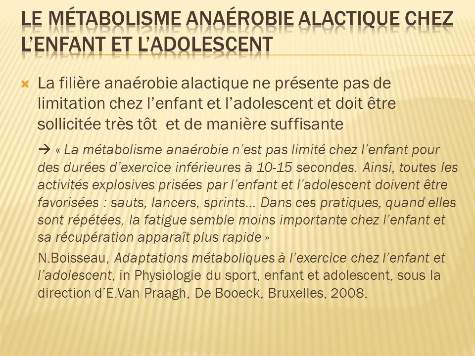 La filière anaérobie alactique ne présente pas de limitation chez lenfant et ladolescent et doit être sollicitée très tôt et de manière suffisante « L