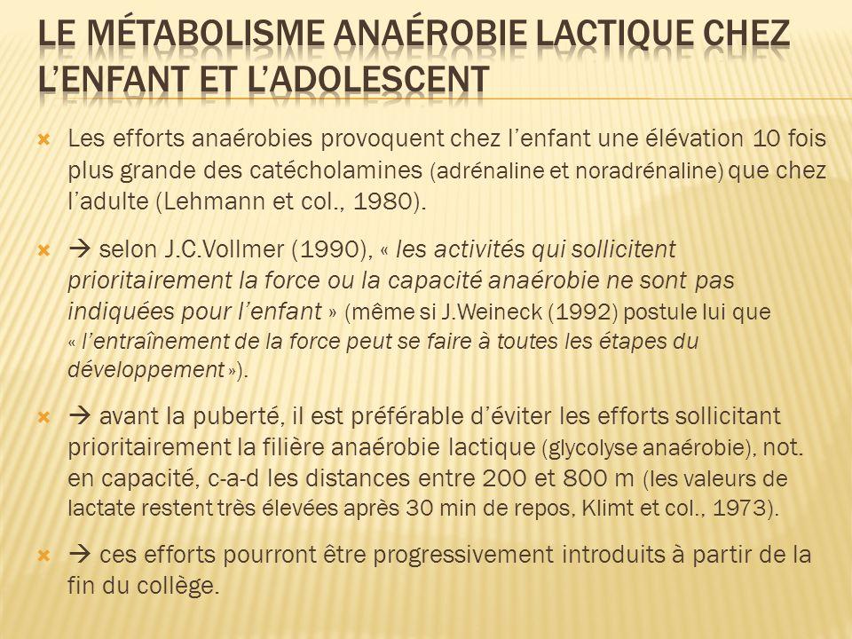 Les efforts anaérobies provoquent chez lenfant une élévation 10 fois plus grande des catécholamines (adrénaline et noradrénaline) que chez ladulte (Le