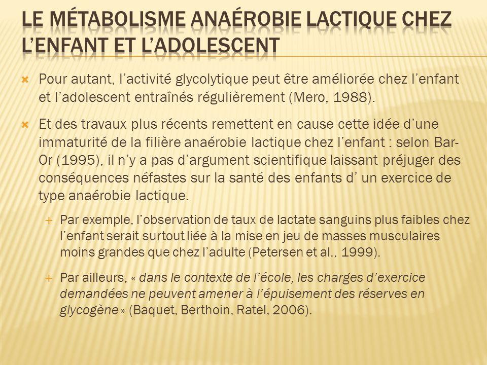 Pour autant, lactivité glycolytique peut être améliorée chez lenfant et ladolescent entraînés régulièrement (Mero, 1988). Et des travaux plus récents