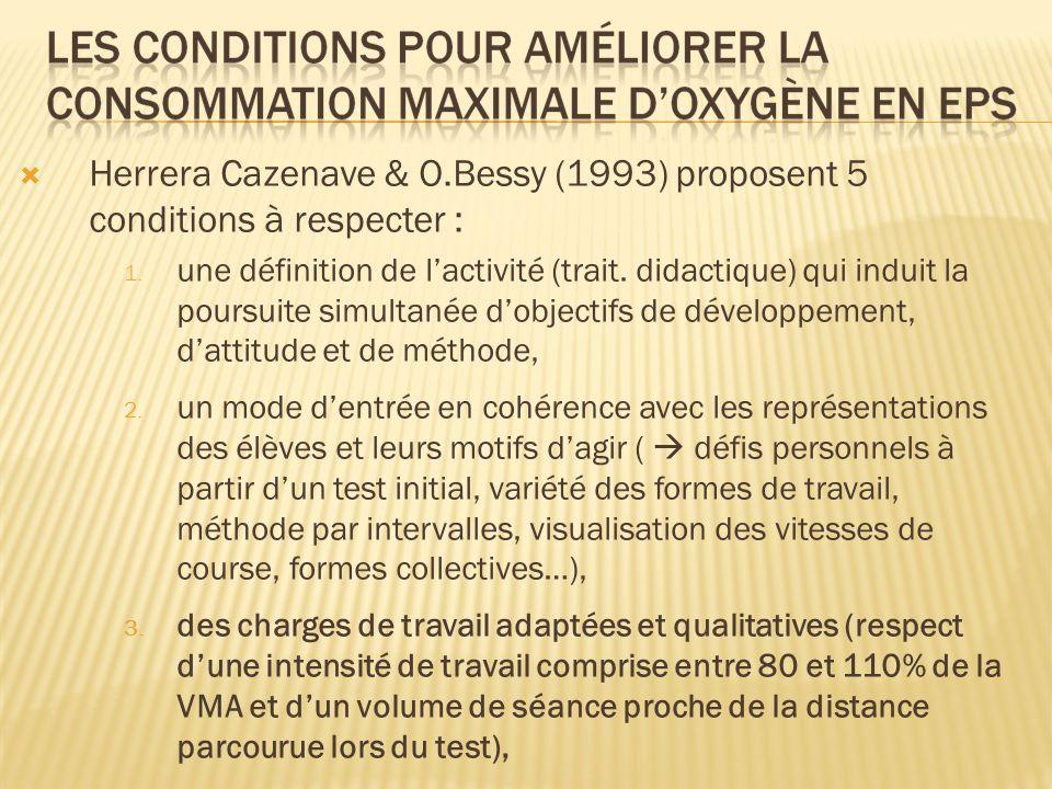 Herrera Cazenave & O.Bessy (1993) proposent 5 conditions à respecter : 1. une définition de lactivité (trait. didactique) qui induit la poursuite simu