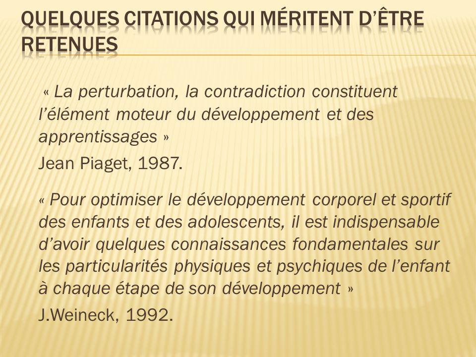 « La perturbation, la contradiction constituent lélément moteur du développement et des apprentissages » Jean Piaget, 1987. « Pour optimiser le dévelo