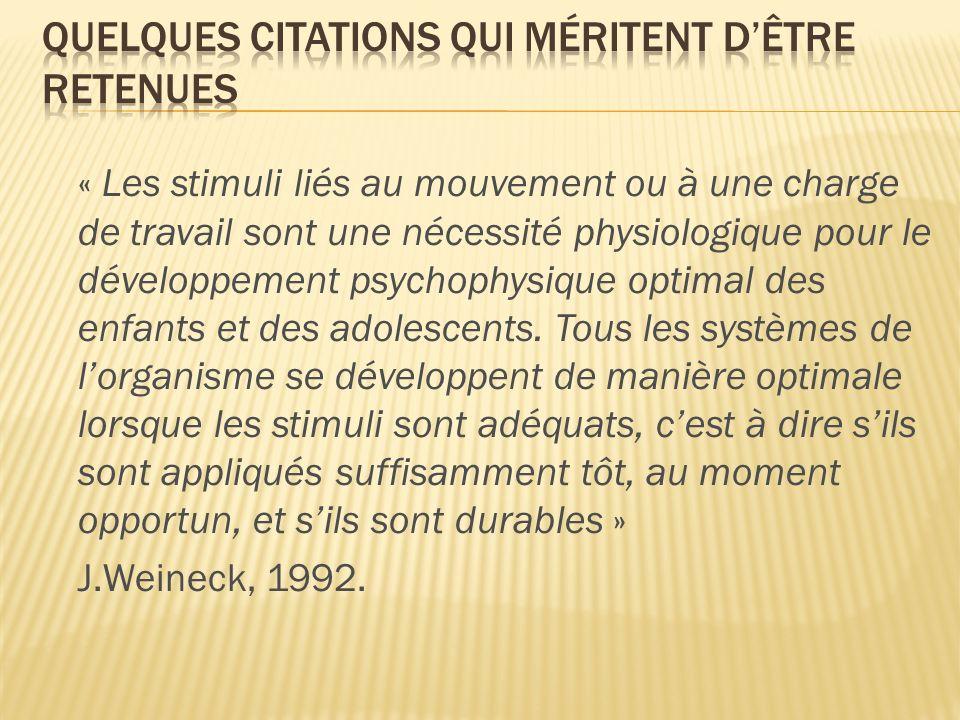 « Les stimuli liés au mouvement ou à une charge de travail sont une nécessité physiologique pour le développement psychophysique optimal des enfants e