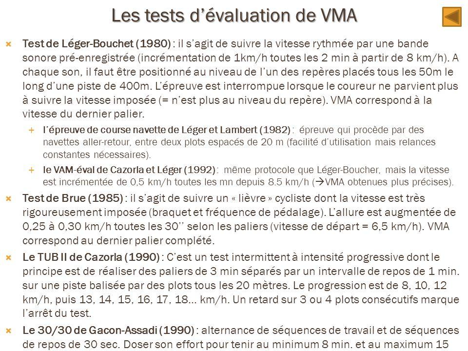 Les tests dévaluation de VMA Test de Léger-Bouchet (1980) : il sagit de suivre la vitesse rythmée par une bande sonore pré-enregistrée (incrémentation