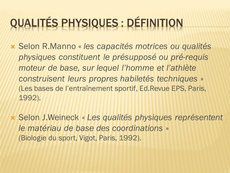 Selon R.Manno « les capacités motrices ou qualités physiques constituent le présupposé ou pré-requis moteur de base, sur lequel lhomme et lathlète con
