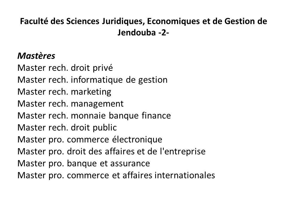 Faculté des Sciences Juridiques, Economiques et de Gestion de Jendouba -2- Mastères Master rech. droit privé Master rech. informatique de gestion Mast