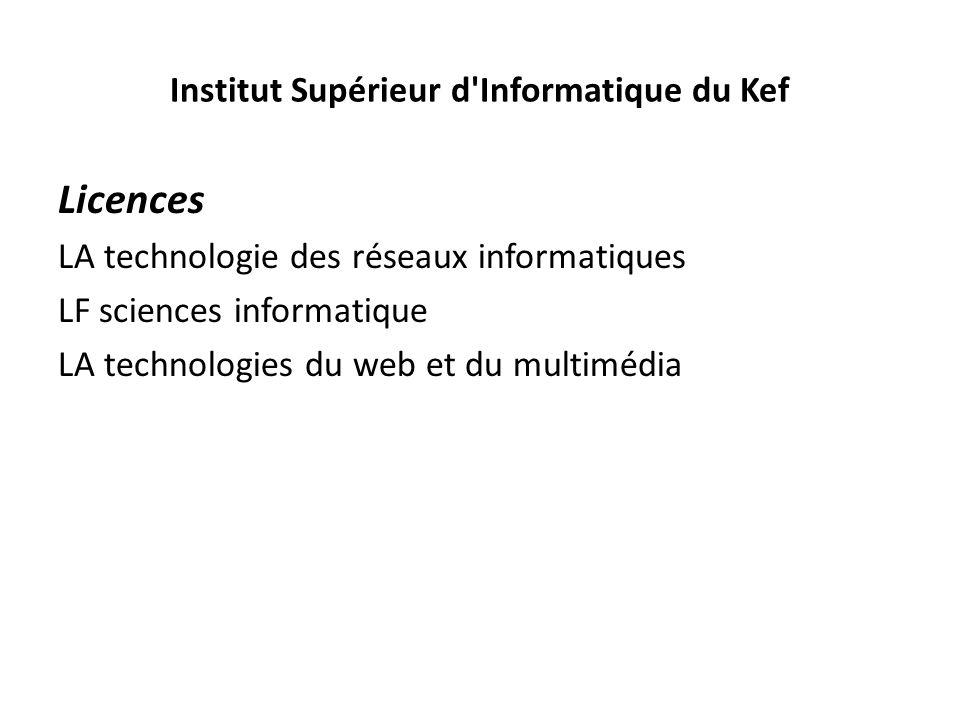Institut Supérieur d'Informatique du Kef Licences LA technologie des réseaux informatiques LF sciences informatique LA technologies du web et du multi