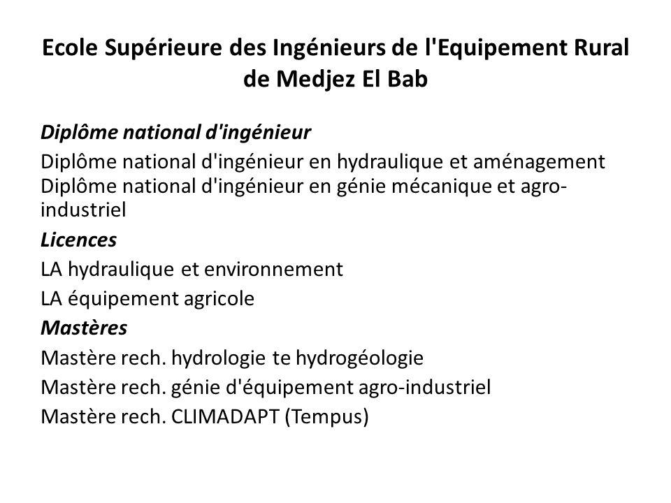 Ecole Supérieure des Ingénieurs de l'Equipement Rural de Medjez El Bab Diplôme national d'ingénieur Diplôme national d'ingénieur en hydraulique et amé