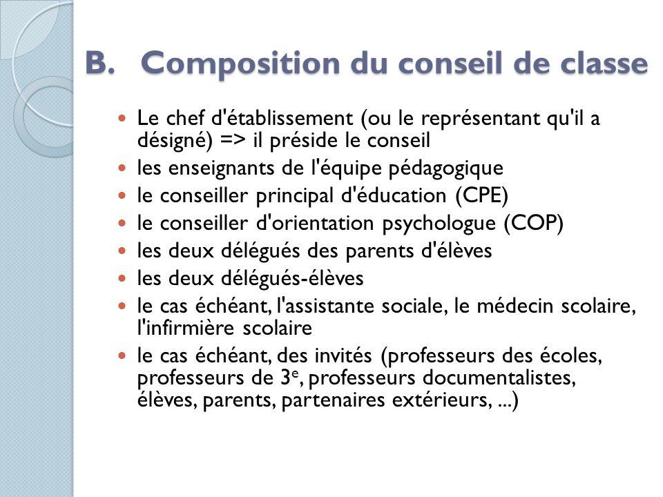 B. Composition du conseil de classe Le chef d'établissement (ou le représentant qu'il a désigné) => il préside le conseil les enseignants de l'équipe