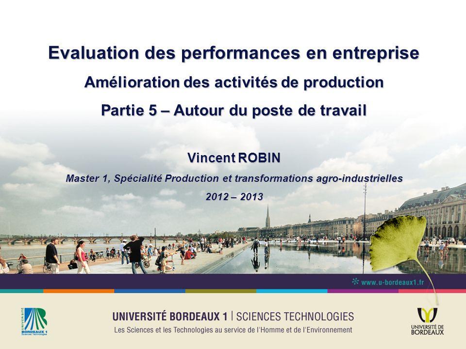 Evaluation des performances en entreprise Amélioration des activités de production Partie 5 – Autour du poste de travail Vincent ROBIN Master 1, Spéci